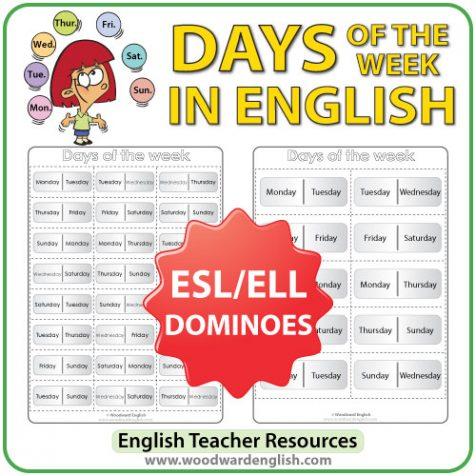 English Days of the Week - Dominoes - ESL/ELL Teacher Resource