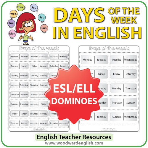 English Days of the Week - Dominoes - ESL/ELL Teacher Resource