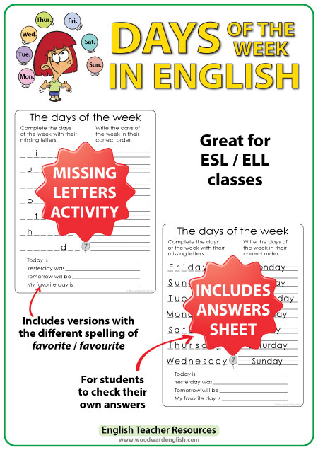 English Days of the Week - Missing Letters Worksheet