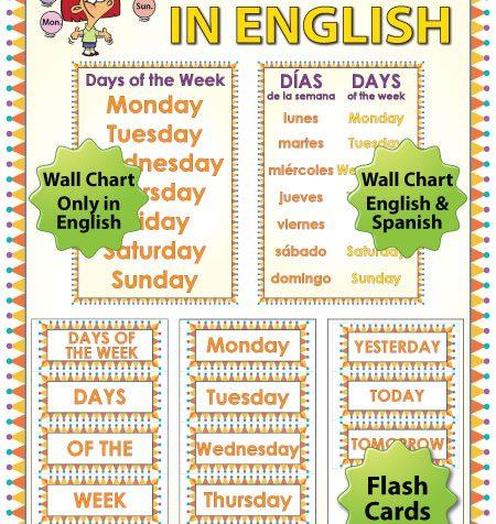 English Days of the Week - Flash Cards / Charts - ESL/ELL Teacher Resource