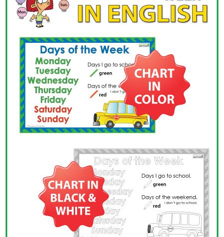 I go to school - Days of the Week English Chart