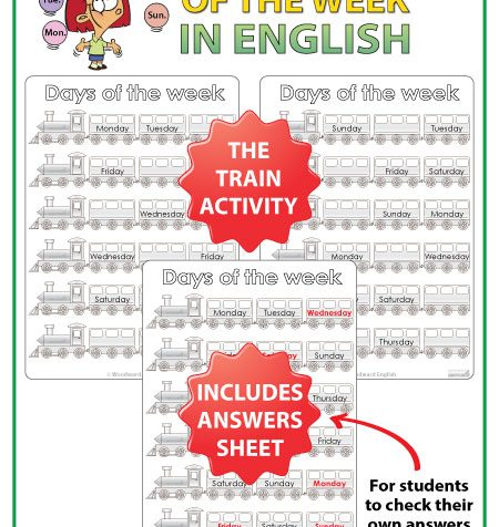 Days of the Week English Worksheets - Train Activity