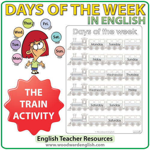ESL/ELL Worksheets about Days of the Week in English - Train Activity