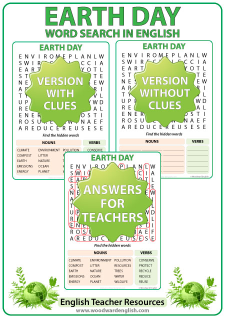Word Search about Earth Day in English - ESL / ELL Teacher Resource