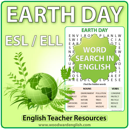 Earth Day word search in English - ESL / ELL Teacher Resource