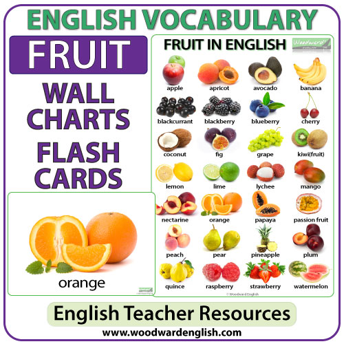 fruit in english  charts  flash cards  woodward english