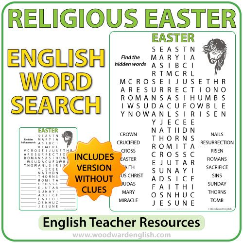 Religious Easter Word Searchin English