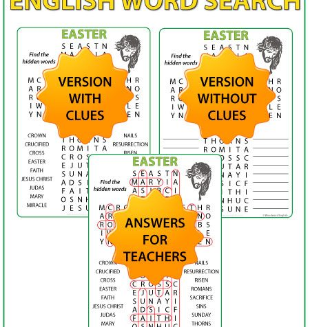 Word Searchin English with 18 Easter-themed religious words as clues. This word search is ideal for religion classes around Easter time.