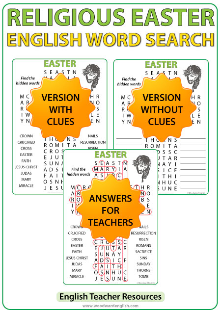 Word Search in English with 18 Easter-themed religious words as clues. This word search is ideal for religion classes around Easter time.