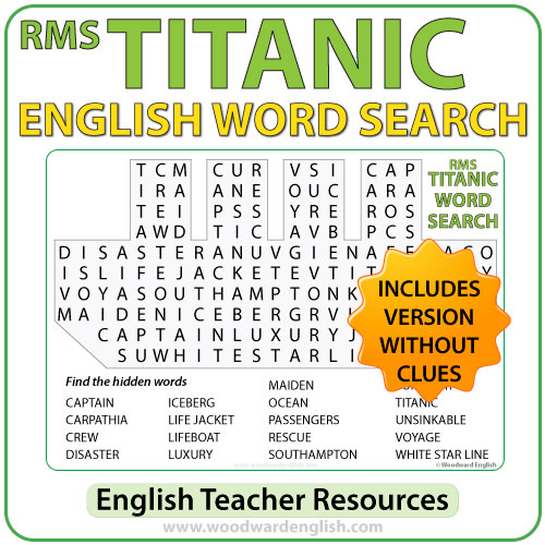 Titanic Word Search in English - English Teacher Resources