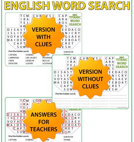 Word Search containing English vocabulary associated with the RMS Titanicthat struck an iceberg in 1912 and sank.