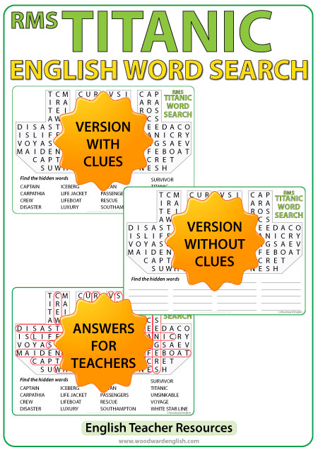 Word Search containing English vocabulary associated with the RMS Titanic that struck an iceberg in 1912 and sank.
