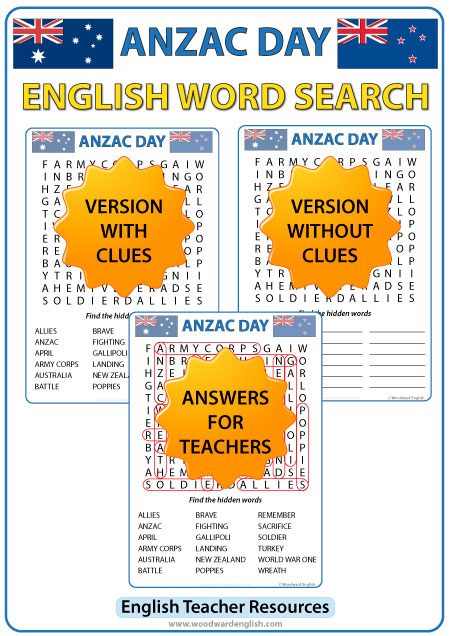 Word Search in English containing vocabulary about ANZAC Day.