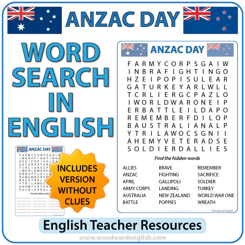 ANZAC Day Word Search in English. Vocabulary associated with the events of the 25th of April.