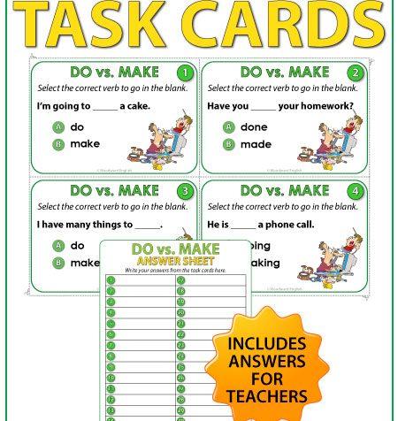DO vs. MAKE in English - Task Cards