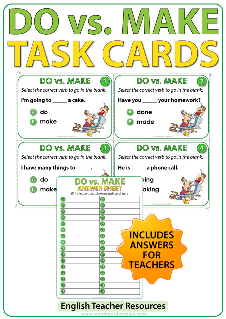 DO vs. MAKE in English - Task Cards