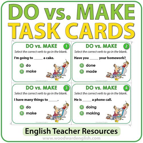 ESL/ELL Task cards to practice the difference between DO and MAKE in English.