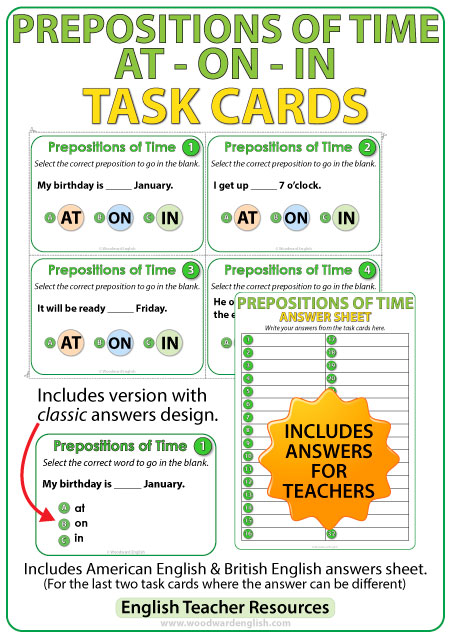 English Task Cards - Prepositions of time AT, ON, IN.
