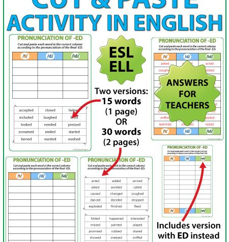 ED Pronunciation - ESL Cut and Paste Activities - English Teacher Resource