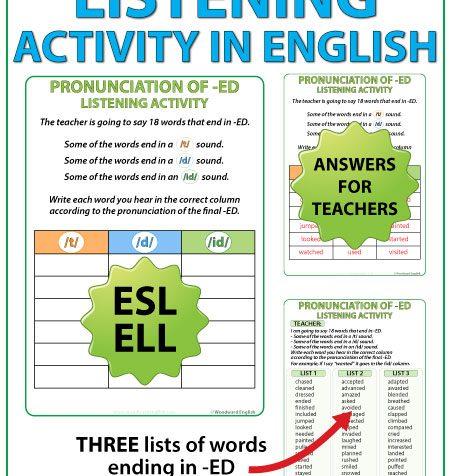 ED Pronunciation - ESL listening activity - English Teacher Resource