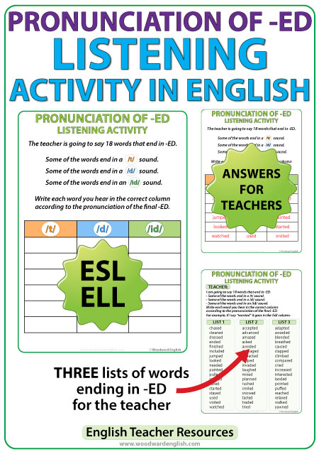 ED Pronunciation - ESL listening activity - English Teacher Resource