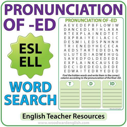 ED Pronunciation in English - ESL Word Search