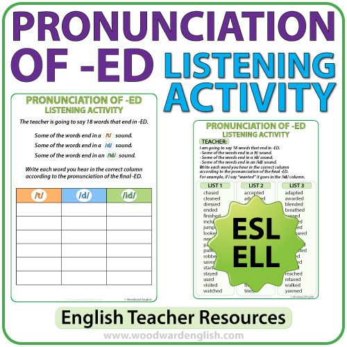 ED Pronunciation in English - ESL listening activity - Teacher Resource