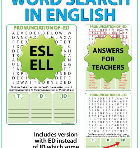 Pronunciation of ED in English - ESL Word Search - Sounds of ED Worksheet