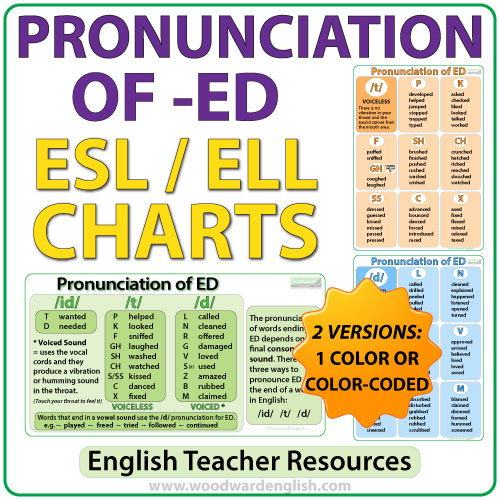 Pronunciation of ED - ESL Charts - English Teacher Resources