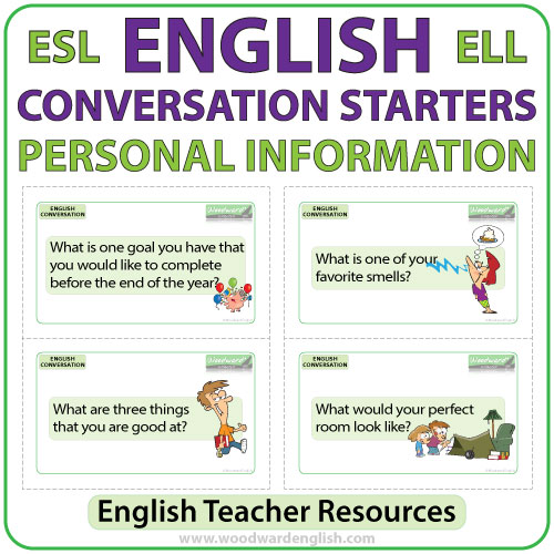 English Conversation Starters - Personal Information Flash Cards