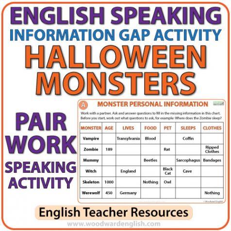 English Speaking - Halloween Information Gap Activity - ESL Pair Work