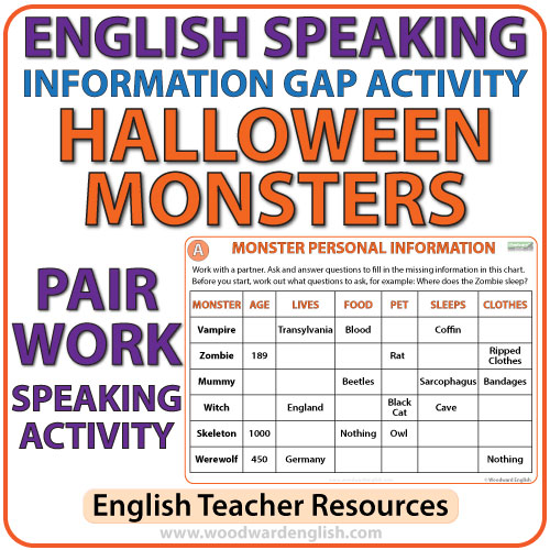 English Information Gap Activity – Halloween Monsters | Woodward English