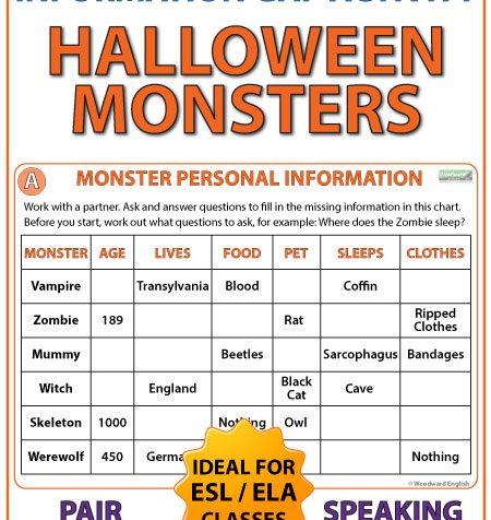 English Information Gap Activity - Halloween Monsters - ESL Pair Work
