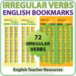 72 Irregular Verbs in English - Bookmarks for ESL / ELL students.