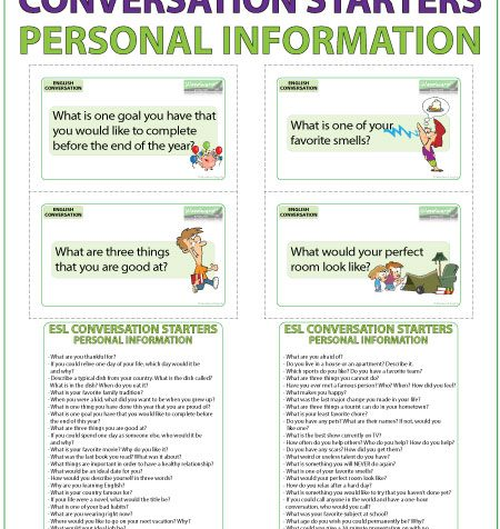 ESL Conversation Starters - Personal Information Flash Cards for English Speaking Practice