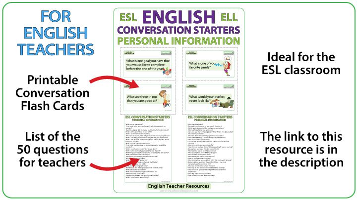 50 ESL Conversation Questions - English Teacher Resource