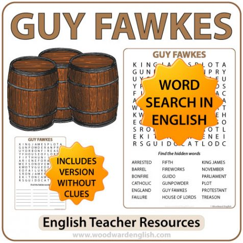 A Word Search containing English vocabulary associated with Guy Fawkes and the Gunpowder plot of 1605.