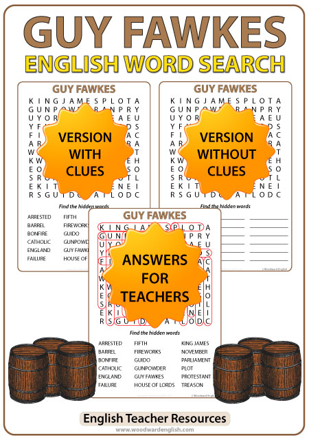 Guy Fawkes Word Search in English - Gunpowder plot of 1605.