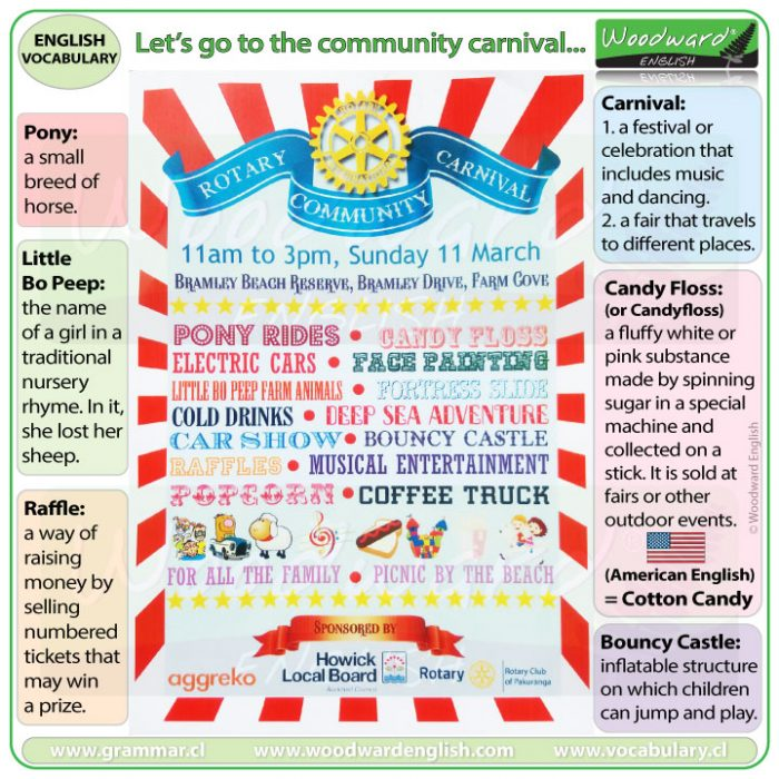 Community carnival vocabulary on a pamphlet - Real-life English