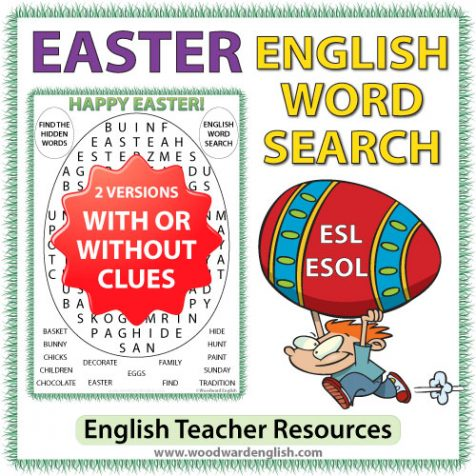 Easter Word Search for English teachers