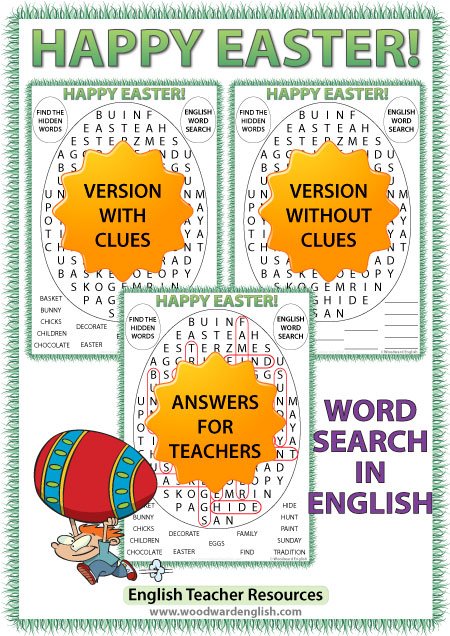 Easter word search in English - ESOL teacher resource