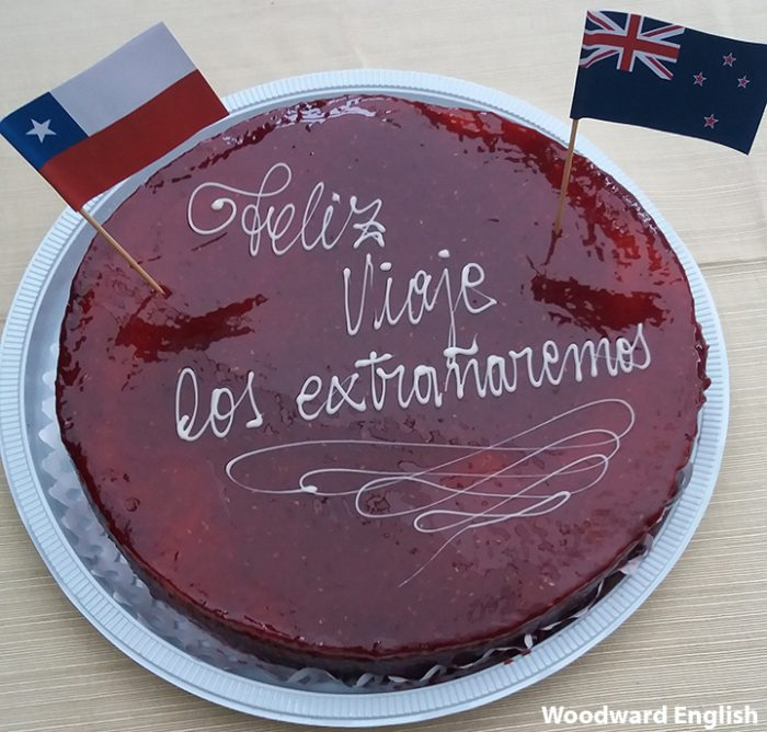 Farewell cake with the flags of Chile and New Zealand and a message in Spanish.