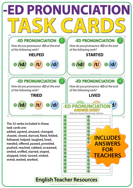 ED pronunciation in English - ESL Task cards - Teacher Resource