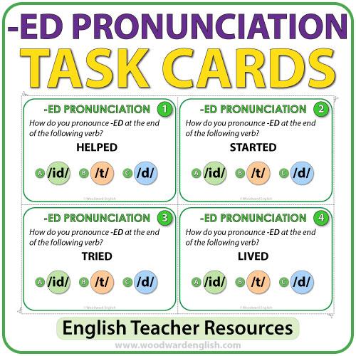 English pronunciation of ED - ESL Task cards - Teacher Resource