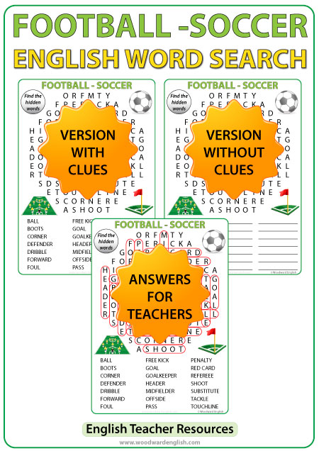 Football / Soccer English Word Search