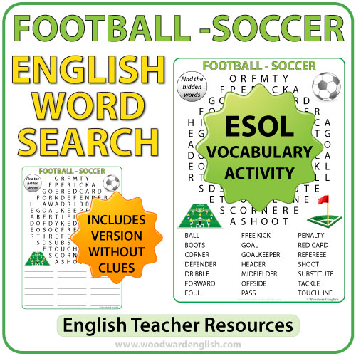 Football / Soccer Word Search - English Vocabulary