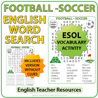 Football / Soccer English Word Search - ESOL Vocabulary