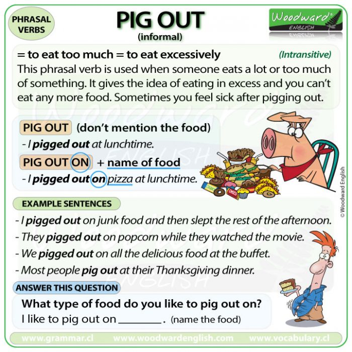 The meaning of PIG OUT with example sentences - English Phrasal Verbs