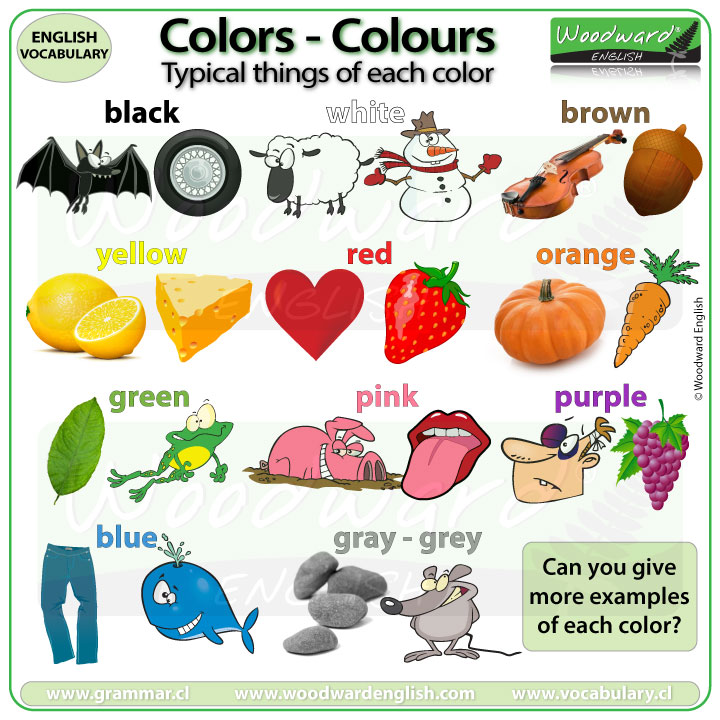 Typical things of each color / colour - Common examples of different colours