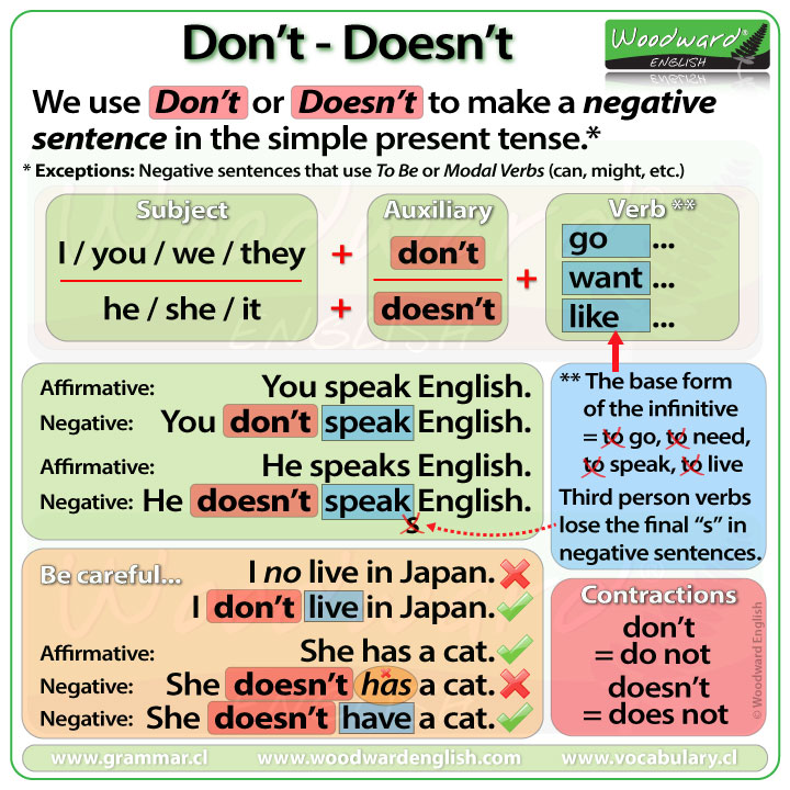 English Exercises Present Simpe: Don't And Doesn't In English